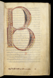 Decorated Initial And Ownership Inscription, In 'The Goda Gospels'